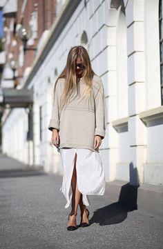 boxy sweater, midi skirt