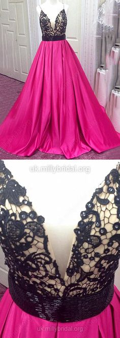 Prom Ball Gowns, Satin Tulle Prom Dresses V-neck, Modest Prom Dresses Ball Gown, 2018 Prom Dresses with Beading #ballgowns
