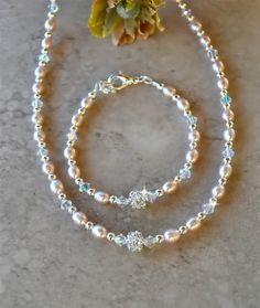 Girls Peach Fresh Water Pearl Set by SweetBeadsbyNatalie on Etsy, $27.00