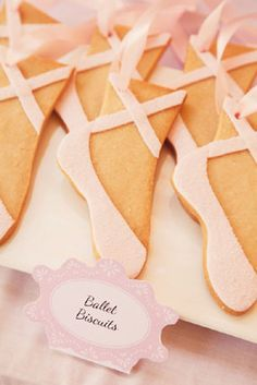 pretty in pink prima ballerina birthday party for grace point toe shoe ballet biscuit cookies