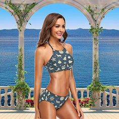27df9f5620 Naanle Women's 2 Piece Chic Beach Hot Sexy Floral Swimsuit High Waist  Halter Bandage Push up Bikini Bathing Set,