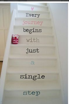 Emma's Home Ideas : (Take Me On) A Staircase to Heaven >>This is words on stairs done right! Stair Quotes, Stair Decor, Stairwell Decorating, Stair Steps, Painted Stairs, Basement Stairs, Attic Stairs, Stairways, My Dream Home