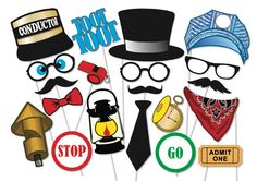Train Photo booth Props Party Props Set Printable - 20 Piece - Train enthusiast, Thomas the Tank Engine Party on Etsy, $7.37