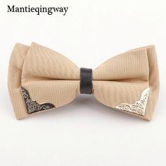 Mantieqingway Luxury Boutique Metal Head Bow Ties For Men Women Butterfly Solid Polyester Bowtie Gravata Slim Black Tie Cravat