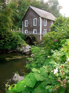 The mill at stony brook creek on cape cod in new england. The site of the annual herring run at brewster, massachusetts with a waterfall and historic building. Cape Cod Vacation, Cape Cod Ma, Stony Brook, Water Mill, Old Barns, Le Moulin, Nantucket, Windmill, Massachusetts