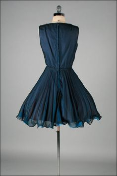 Vintage 1950s Dress . Blue Crepe Chiffon . by millstreetvintage