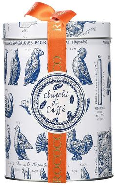Shop Rococo Chocolates Chicchi di Caffe Gift Drum 250 g. Vintage Packaging, Brand Packaging, Box Packaging, Packaging Design, Branding Design, Chocolate Gum, Praline Chocolate, Rococo, Melting In The Mouth