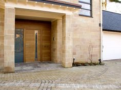 25 : sorrento in euro oak with 1 sidelite, 1 sidepanel and 1 overpanel - option 3 handles Entry Doors, Entrance, Garage Doors, Contemporary Front Doors, External Doors, House Windows, Beach House, Exterior, Urban