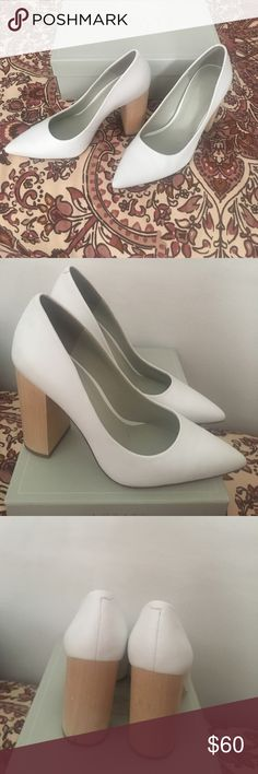 1. STATE White Heels Size 7, worn once, white leather with a wooden heel 1. State Shoes Heels