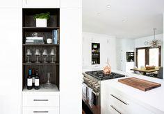 wood shelves inside white cabinets