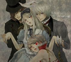 Hetalia/Alice in Wonderland crossover: Natalia as Alice, Toris as the Mad Hatter, Ivan as the March Hare, and Katya (head-canon name for Ukraine) as the Queen of Hearts - Art by Mitsulu