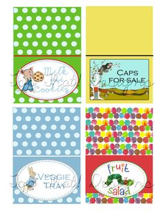 Children's Book Themed Baby Shower Food Tents by jenleonardini, $6.00