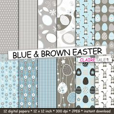 Easter digital paper BLUE & BROWN EASTER with eggs by ClaireTALE, $4.80