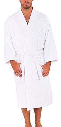 Terry Kimono Men s and Women s Bathrobe Turkish Cotton Made in Turkey  (White 449fca0c9