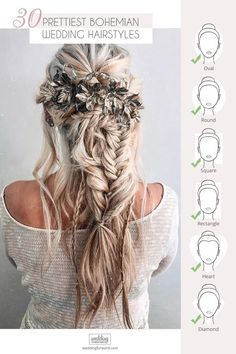 30 Prettiest Bohemian Wedding Hairstyles ❤ Already have a boho wedding dress b., 30 Prettiest Bohemian Wedding Hairstyles ❤ Already have a boho wedding dress but still dont know what to do with your hair? Look through our gallery o. Summer Wedding Makeup, Boho Wedding Hair, Wedding Hairstyles For Long Hair, Wedding Hair And Makeup, Curled Hairstyles, Bride Hairstyles, Wedding Hair Accessories, Fall Hairstyles, Dress Hairstyles