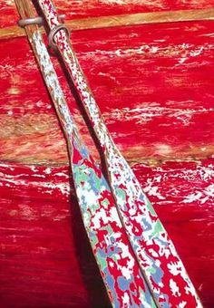 Chippy wooden red row boat and oars photo. Wabi Sabi, Old Boats, Peeling Paint, Shades Of Red, Belle Photo, Strand, Color Inspiration, Red Color, Favorite Color