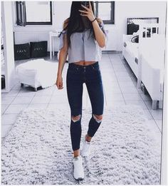 100 cute spring outfits with sneakers - page 30 > Homemytri. Cute Spring Outfits, Cute Casual Outfits, Outfits For Teens, Chic Outfits, Fashion Outfits, Fashion Hair, Dress Fashion, Little Fashion, Teen Fashion