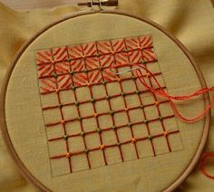 Decorative Mesh Embroidery, or Cross Stitch for the Lazy. Part фото № with hand embroidery Embroidery On Kurtis, Kurti Embroidery Design, Basic Embroidery Stitches, Hand Embroidery Videos, Embroidery Flowers Pattern, Hand Embroidery Tutorial, Embroidery On Clothes, Hand Work Embroidery, Creative Embroidery