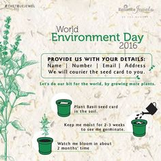 Join the Race to make the World a better place. Join us in conserving the environment. Simply inbox us your contact details (Name | Number | Email | Address) on Facebook, and we shall send you a seed card to plant and express your contribution. Reliance Jewels Be The Moment #Reliance #RelianceJewels #Jewels #Environment #EnvironmentDay2016 #Nature #Act
