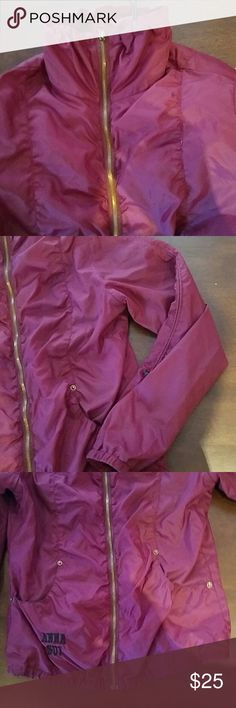 Cute Anna Sui Spring Jacket Purple light weight jacket, perfect for spring. There are some black stains on the inside - see pictures. The price reflects the defect. Anna Sui Jackets & Coats