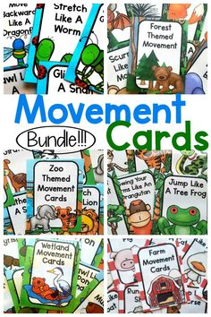 Fun ways to incorporate movement into the day! Use these for preschool gross motor, kinesthetic learning, or use during your therapy sessions. Great as an occupational therapy intervention or physical therapy intervention. Have fun moving with all of the different themes!