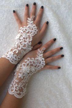 Ivoire Dentelle, Mariage Gants de dentelle navire libre, Rose goth gothiques, des gants uniques
