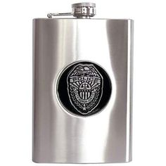 Maxam® 8oz Stainless Steel Flask with Police Department Medallion
