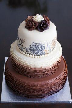 handpainted marzipan wedding cake by Eliska - http://cakesdecor.com/cakes/277569-handpainted-marzipan-wedding-cake