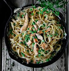 My version of Chicken Fettuccine Alfredo is probably one of my favorite meals. creamy sauce, pease, and Best Chicken Fettuccine Alfredo Recipe, Chicken Pasta Recipes, Fettuccine Recipes, Alfredo Chicken, Noodle Recipes, Party Recipes, Easy Cooking, How To Cook Chicken, Wine Recipes