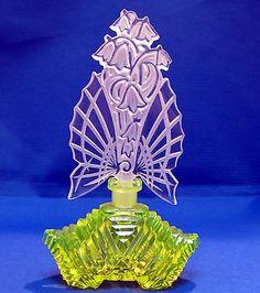 Czech Crystal and Vaseline Glass Perfume Bottle