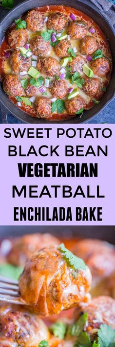 This Sweet Potato and Black Bean Vegetarian Meatball Enchilada Bake is so delicious and flavorful! It's easy to make, healthy and filling! Great for a vegetarian dinner or side dish! Serve it on top of cauliflower rice for an awesome weeknight dinner! #Vegetarian #Dinner #GlutenFree #Healthy