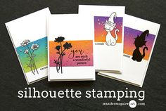 Hello! Today I share an easy way to get a new look out of an outline stamp... by turning it into a silhouette. I also share some tips for blended inking.