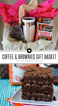 Easy Gift Basket Idea.  Perfect for neighbors, teachers or friends. Coffee, a mug and some homemade coffee brownies.