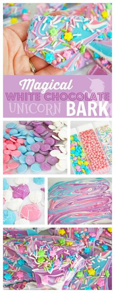 You are going to love this delicious 'Magical White Chocolate Unicorn Bark' Not only is it yummy and pretty, with it's mix of colors. It will also look incredible on any dessert table at a Unicorn birthday party. See how easy it is to make! See more party Unicorn Birthday Parties, First Birthday Parties, Birthday Party Themes, Girl Birthday, First Birthdays, Birthday Ideas, Birthday Cake, Unicorn Party Favours, Diy Unicorn Party