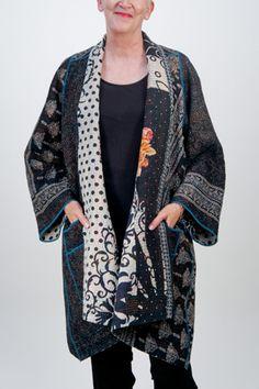 Mieko Mintz – Kantha A Line Jacket Silk Jacket, Cotton Jacket, Asian Fabric, Vest Outfits, Coat Patterns, Winter Coats Women, Bold Fashion, Line Jackets, Clothing Items
