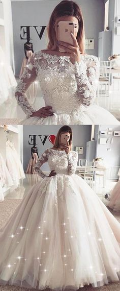 NEW! Exquisite Tulle Bateau Neckline Ball Gown Wedding Dress With Lace Appliques & Beadings