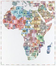 Map showing the different currencies of African countries via 37 st HQ.