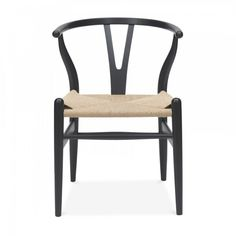 Hans J. Wegner Chaise Style Wishbone - Noir/Siège Naturel