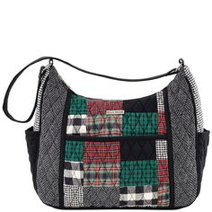 "The Vanessa from the Bella Taylor Ivy Collection comes in a sophisticated patchwork of tartan red, ivy green and crisp black with a jet black microsuede trim, base and strap and side pockets. This bag is machine quilted with foam batting and has extra reinforcements on all stress points. Measuring 12.75"" x 3.25"" x 9.25"", the Vanessa features 3 outside slip pockets and 1 inside zip pocket."