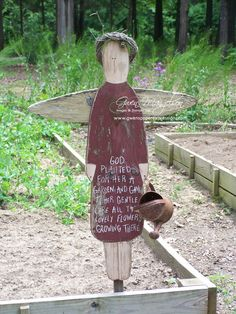 I cut out and painted this about 18 years ago. She has stood watch in my garden all this time and is put in the shed for the winter. I think I may need to add a new coat of paint next season