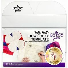 """Use this template for a fast and fun way to make a bowl cozy using 2-1/2"""" strips! Detailed instructions on how to use the template are included. For further instruction, watch the video below as Jen guides you though the process of how to make a Jelly Roll Bowl Cozy!Please Note: You must use 100% cotton, 100% cotton batting and 100% cotton fabric for this project."""