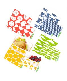 These reusable snack and sandwich bags make an eco-friendly, money-saving replacement for disposable plastic bags. Made from the same high-quality fabric used by pastry chefs, they have been safety tested and may be cleaned in a dishwasher or washing machine. Plus, they come in adorable bee, baseball, robot and fish patterns.