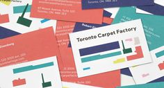 Brand identity and business cards for Toronto Carpet Factory by graphic design studio Bruce Mau Design
