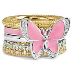 Sterling Silver Pink Enamel Butterfly Gold Stackable Ring Set #butterfly #gold #pink #yellow #jewelry #bands