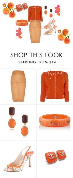 """""""shades of orange"""" by deirdre35 ❤ liked on Polyvore featuring River Island, Mark Davis, Jimmy Choo and Chanel"""