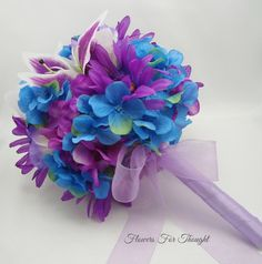 Blue and Purple Bridal Bouquet Silk Flowers by FlowersForThought