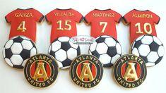 Atlanta United Cookies. Soccer Cookies Soccer Cookies, Soccer Cake, Soccer Party, Tiffany Smith, Atlanta United Fc, Mls Cup, Mls Soccer, Cookie Bars, Cookie Decorating