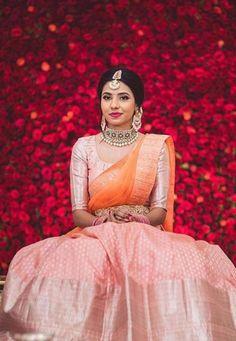 The Most Gorgeous South Indian Lehenga Saree Designs We Spotted! Indian Lehenga, Lehenga Saree Design, Half Saree Lehenga, Lehnga Dress, Kids Lehenga, Anarkali, Lehenga Designs, Half Saree Designs, Blouse Designs