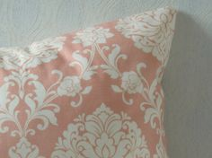 Peach and cream floral patterned pillow cover. Home Cottage Co https://www.etsy.com/listing/496163519/peach-floral-patterned-18x-18-pillow?ref=shop_home_active_2