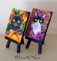 Detail Image for art Whimsical Folk Art Cat Paintings Oil Painting Basics, Canvas Painting Tutorials, Cat Drawing Tutorial, Wal Art, Mini Canvas Art, Unicorn Art, Art Portfolio, Halloween Art, Whimsical Art